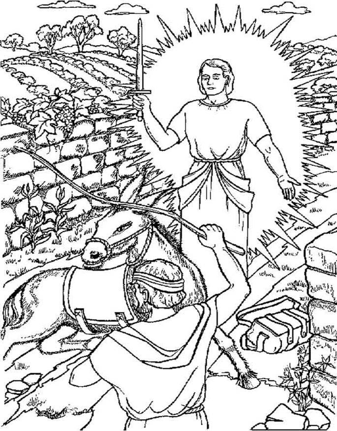 Bible coloring page: Balaam's Donkey (With images) | Bible for ... | 876x685